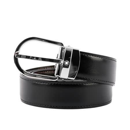 【MONTBLANC】 馬蹄型亮面鍍鈀針式搭扣雙面可用皮帶(黑色/棕色)