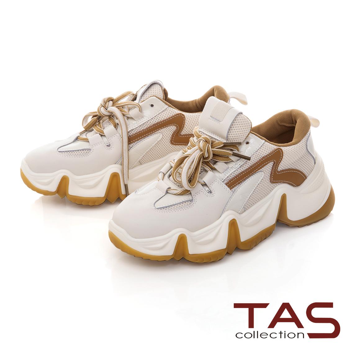 TAS流線造型牛皮綁帶老爹鞋-復古黃
