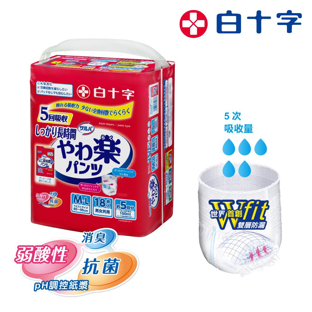 【白十字】全新雙層D超瞬吸防漏樂活褲M-L(箱購54片/18片x3包-日本原裝進口