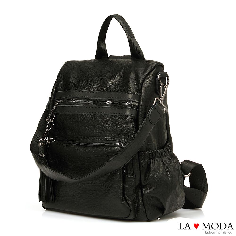 La Moda 百搭單品2WAY大容量防盜設計肩背後背包 (黑)