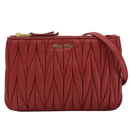 MIU MIU 抓皺羊皮雙層斜背包.紅