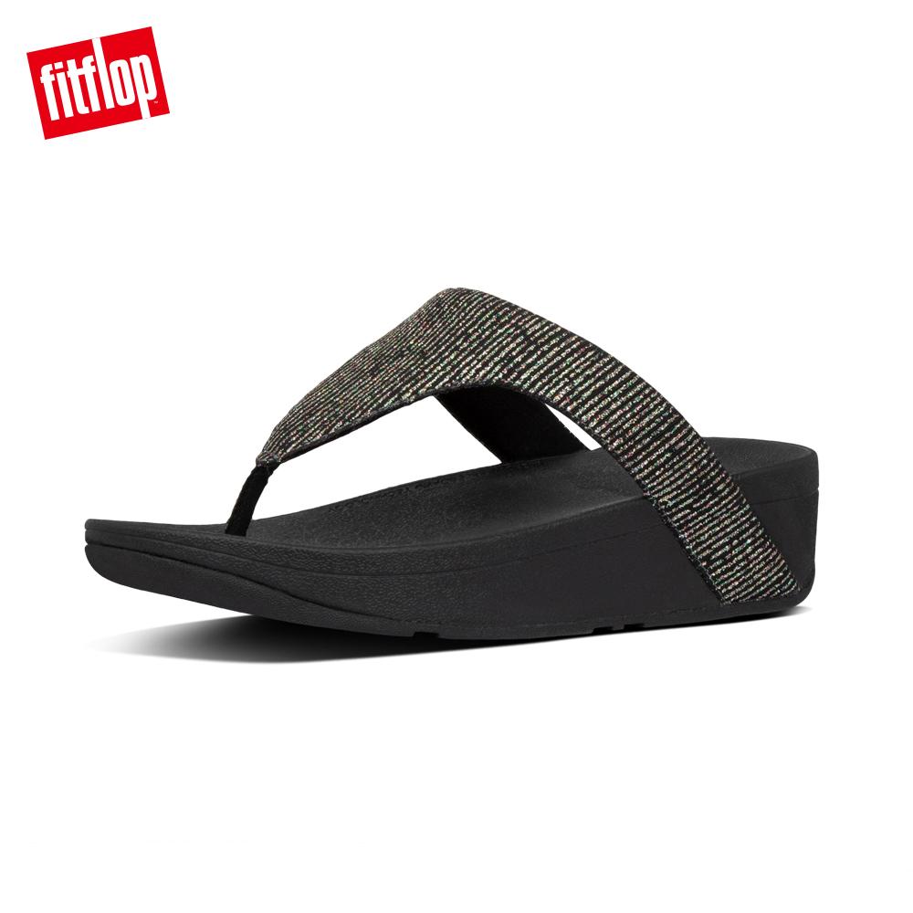 【FitFlop】LOTTIE GLITTER-STRIPE TOE-THONGS金屬光澤夾腳涼鞋-女 靚黑色