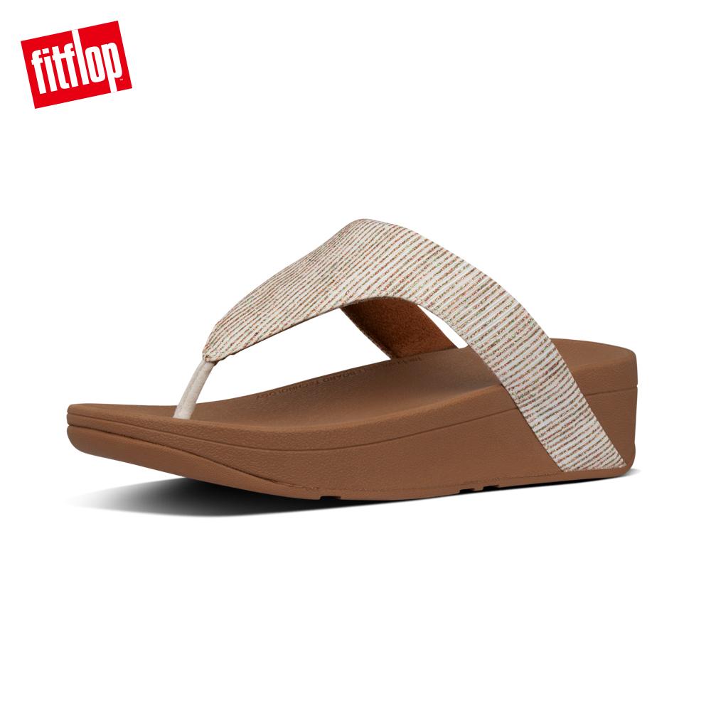 【FitFlop】LOTTIE GLITTER-STRIPE TOE-THONGS金屬光澤夾腳涼鞋-女 沙金色