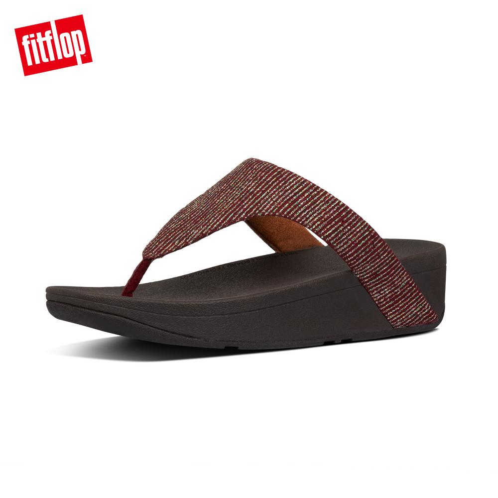 【FitFlop】LOTTIE GLITTER-STRIPE TOE-THONGS金屬光澤夾腳涼鞋-女 栗色