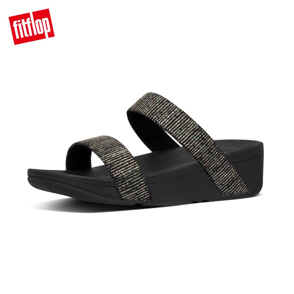 【FitFlop】LOTTIE GLITTER-STRIPE SLIDES金屬光澤造型涼鞋-女 靚黑色
