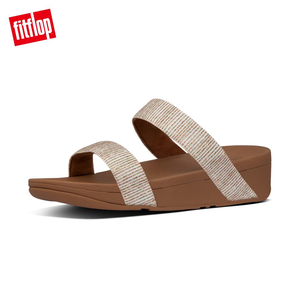 【FitFlop】LOTTIE GLITTER-STRIPE SLIDES金屬光澤造型涼鞋-女 沙金色