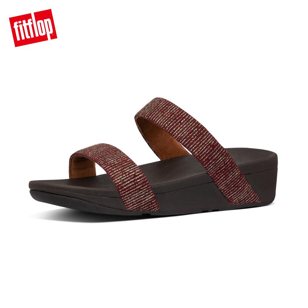 【FitFlop】LOTTIE GLITTER-STRIPE SLIDES金屬光澤造型涼鞋-女 栗色