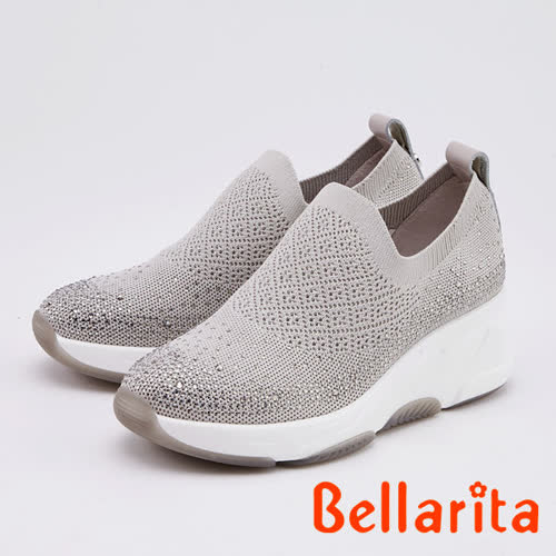 Bellarita.百搭舒適精緻晶鑽飛織厚底休閒鞋(0903-85灰色)