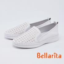 Bellarita.簡約率性編織全真皮休閒鞋(0905-10白色)