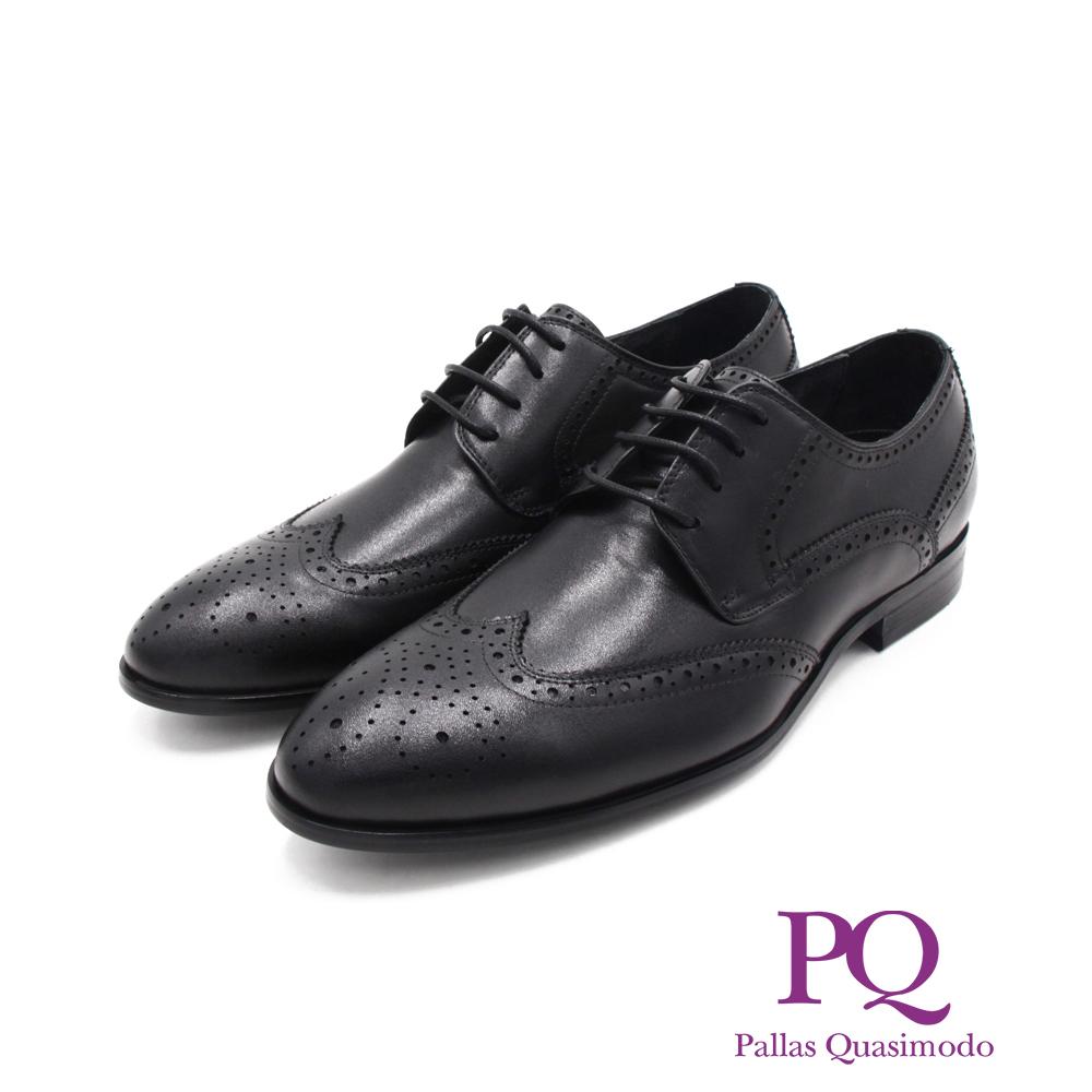 PQ(男)渲染小圓頭造型綁帶皮鞋 男鞋 -黑(另有咖)