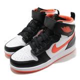 Nike 籃球鞋Air Jordan 1 FlyEase 女鞋 經典 喬丹一代 皮革 簡約 魔鬼氈 穿搭 黑 橘 CT4897008 CT4897-008