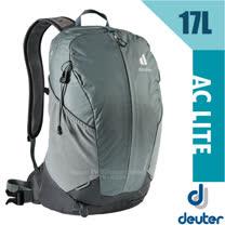 【德國 Deuter】AC LITE 17L 網架直立式透氣健行登山背包(Aircomfort 網架背負系統.附防雨套)/3420121 深灰/黑