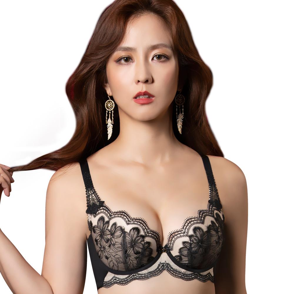 【思薇爾】香頌花都系列B-F罩背心型蕾絲刺繡包覆內衣(黑色)