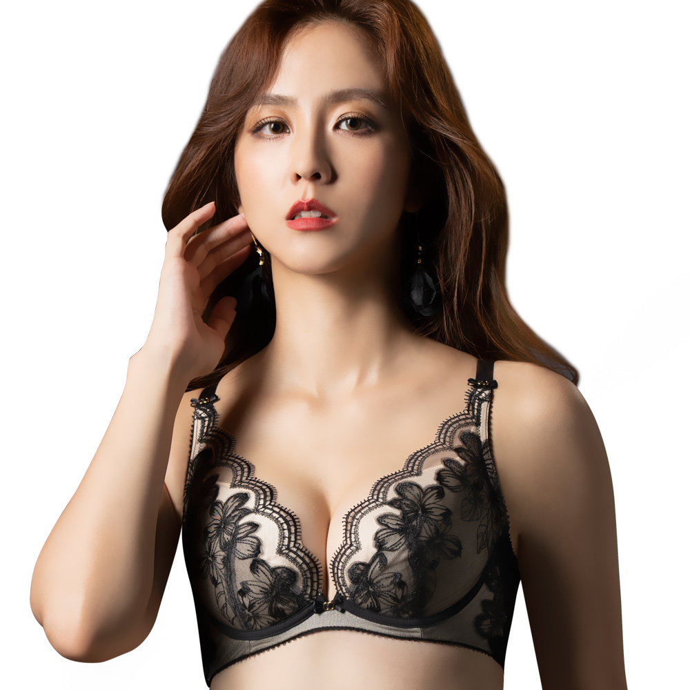 【思薇爾】香頌花都系列B-E罩蕾絲刺繡集中包覆內衣(黑色)