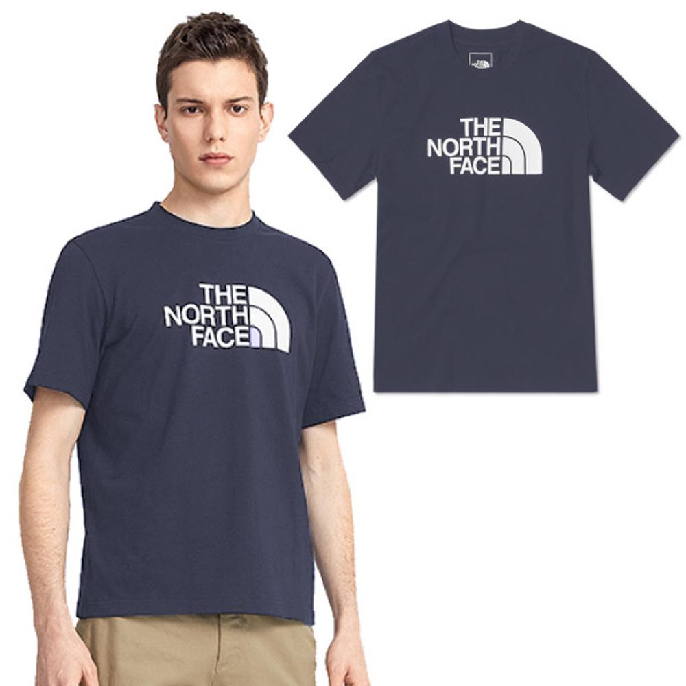 【美國 The North Face】男新款 大LOGO 柔軟透氣吸濕短袖圓領T恤(亞洲版型).休閒衫/4U8Z-WC4 藍 N
