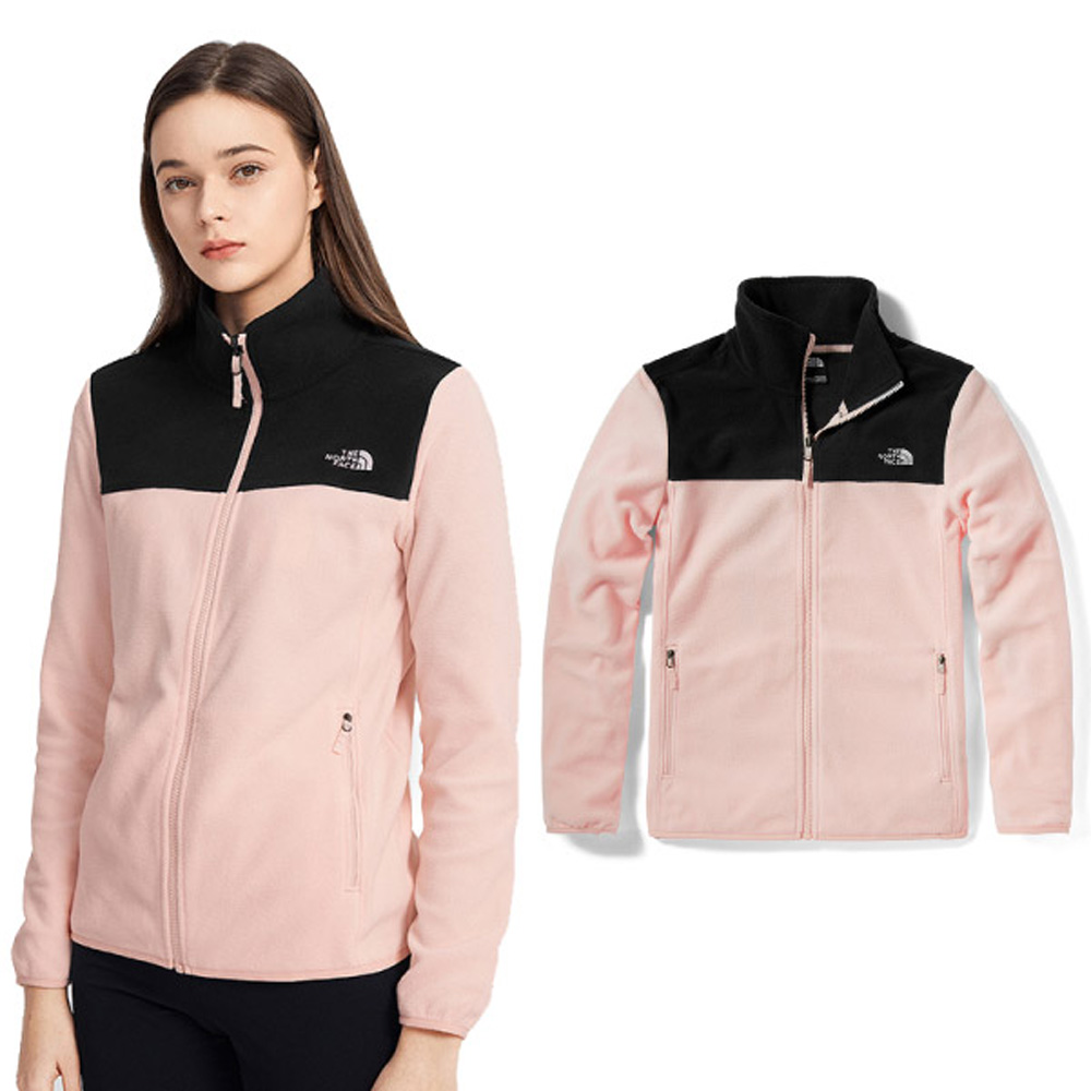 【美國 The North Face】女新款 TKA 100 輕柔刷毛抓絨保暖外套夾克(亞洲版型.可套接GoreTex內件)/4NAQ-Y1B 粉 N