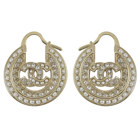 CHANEL AB4174 雙C LOGO珍珠半圓造型耳環.淡金