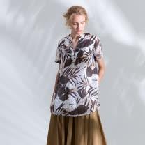 【PANGCHI 龐吉】圓弧下擺藝術手繪印花麻料上衣
