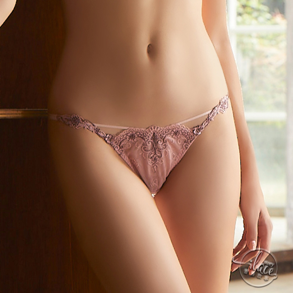 LADY 宮廷晚宴系列 刺繡低腰丁字褲(時尚紅)