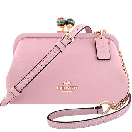 COACH 珠釦鍊帶斜背包-櫻花粉色