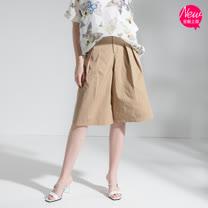 【PANGCHI 龐吉】天然透氣棉打褶五分寬褲