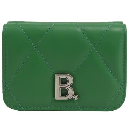 BALENCIAGA 巴黎世家 617781 金屬B LOGO小羊皮三折小短夾.綠