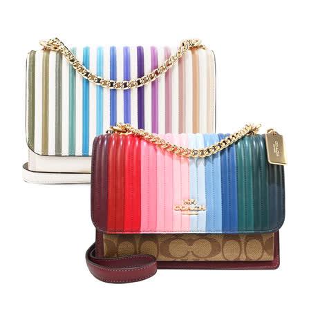 COACH 彩虹皮革金屬鍊帶肩背/斜背兩用風琴包