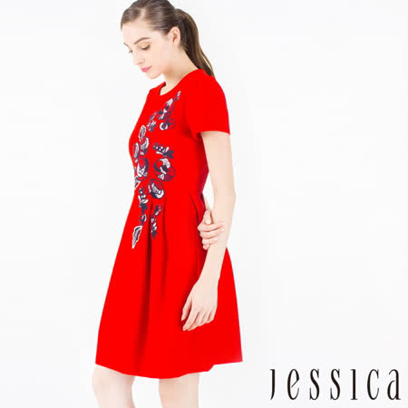JESSICA 氣質高雅刺繡花朵修身洋裝 (紅)
