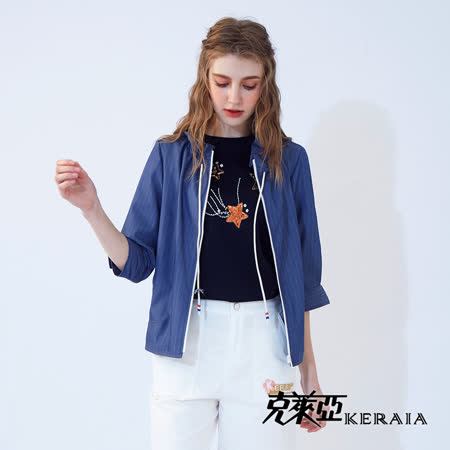 KERAIA 克萊亞 絲棉抽繩配條短外套