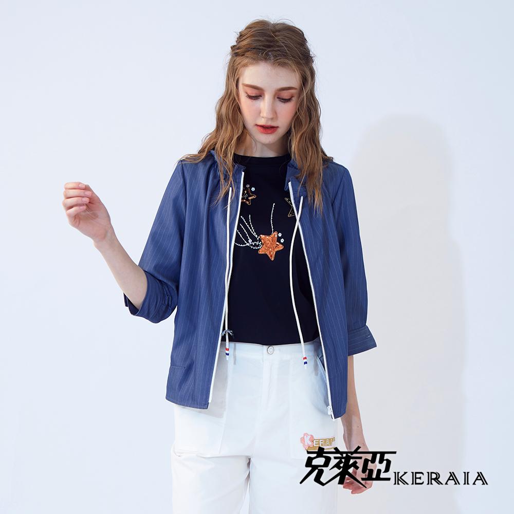【KERAIA 克萊亞】天絲棉抽繩配條短外套