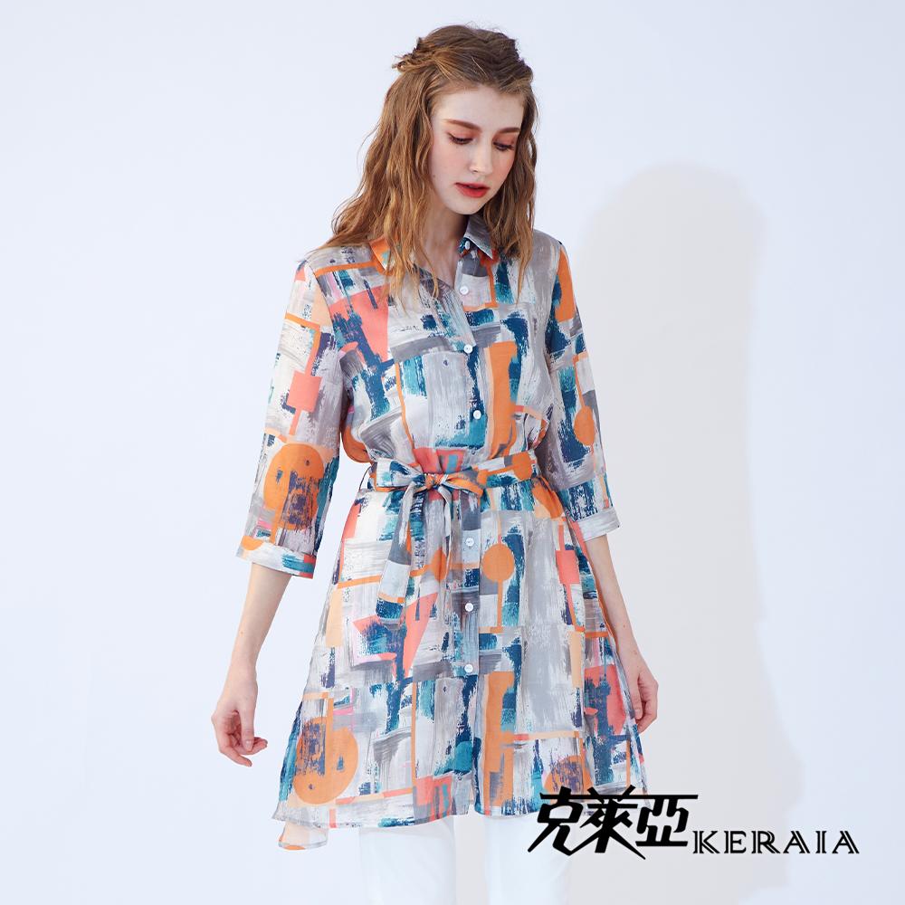 【KERAIA 克萊亞】日陽湖畔綁帶麻料長襯衫