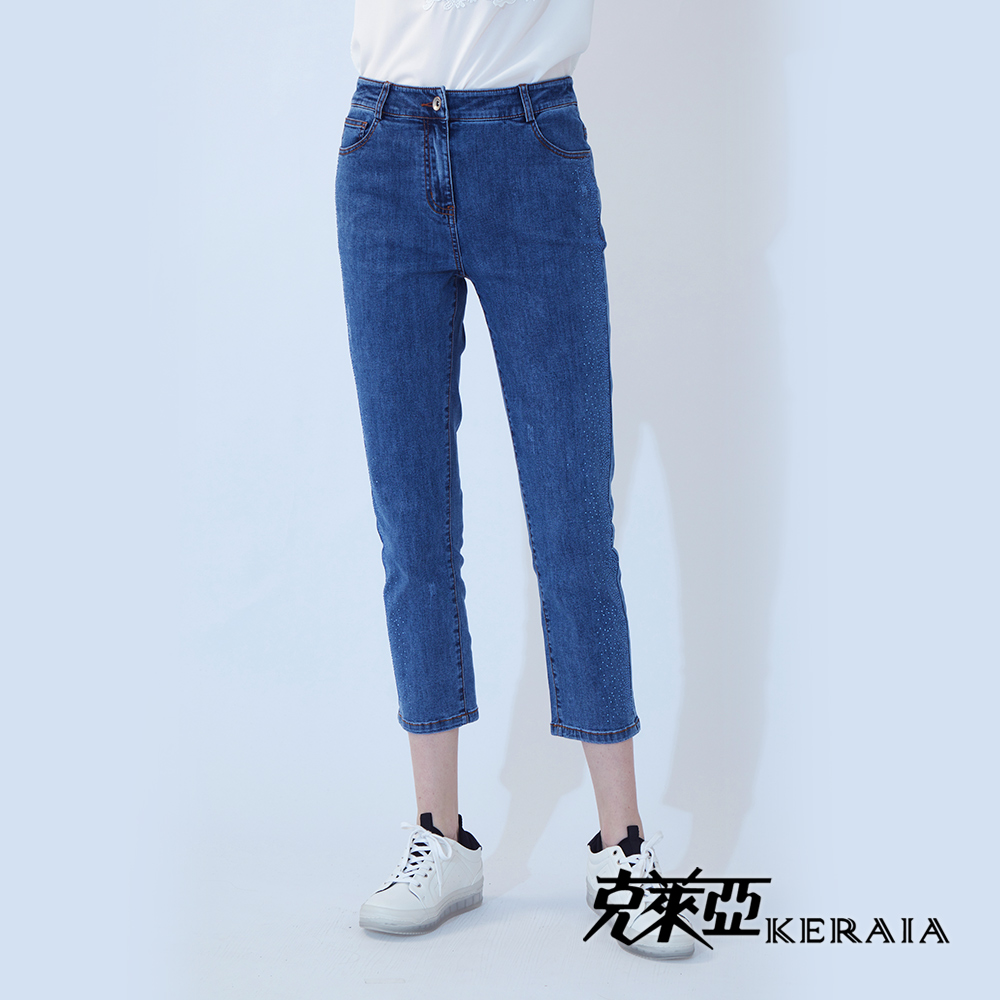 【KERAIA 克萊亞】月朗星稀鑽飾漸層彈力牛仔褲