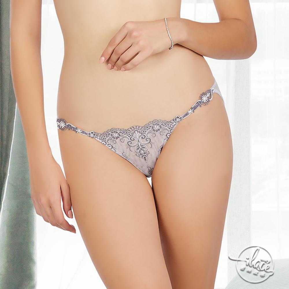 LADY 宮廷晚宴系列 刺繡低腰三角褲(典雅灰)