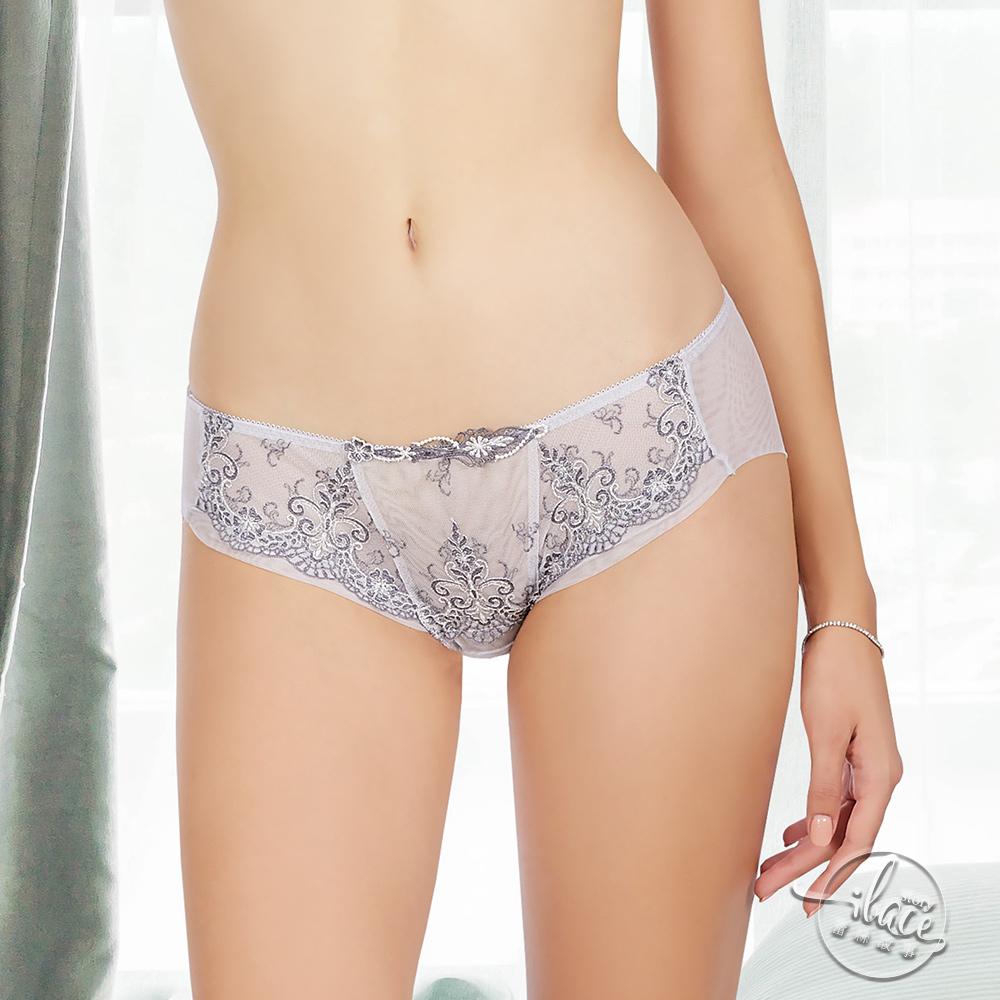 LADY 宮廷晚宴系列 刺繡低腰平口褲(典雅灰)