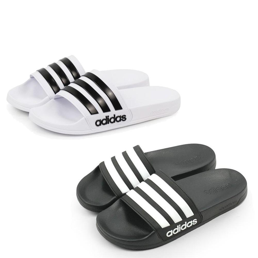 ADIDAS 男女 ADILETTE SHOWER 合成皮三線快乾舒適 拖鞋 黑白 - AQ1701 / AQ1702