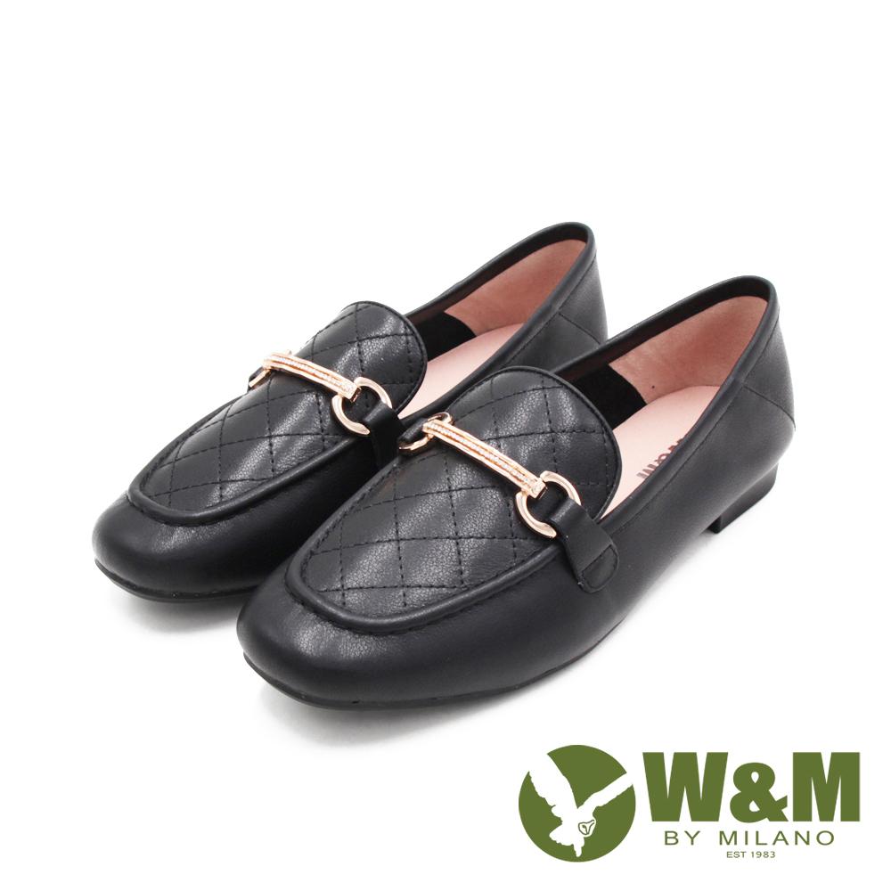 W&M (女)菱格方頭絃釦莫卡辛 女鞋 - 黑(另有杏)