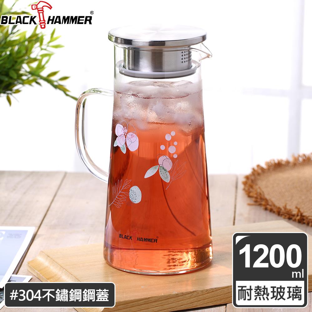 (任選)義大利 BLACK HAMMER 花語耐熱玻璃水瓶1200ml