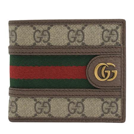 GUCCI 597606 經典雙G LOGO 織帶八卡雙折短夾.咖