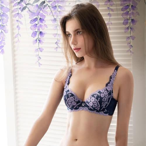 莎露-花言葉-紫藤花 D-E罩杯內衣(紫藤藍) 綺麗蕾絲-渾圓胸型-SB4452NQ