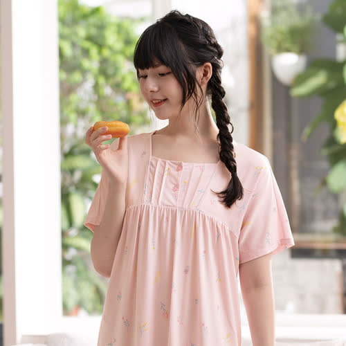 華歌爾睡衣-睡眠研究所-海藻纖維 M-LL短袖裙裝(粉) LWB07411PI