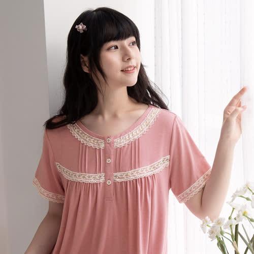 華歌爾睡衣-睡眠研究所-蘆薈纖維 M-L短袖褲裝(藕粉) LWB56611PI