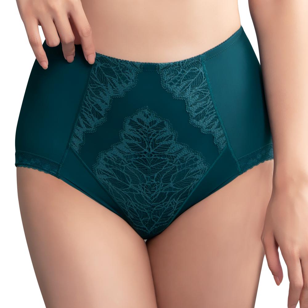 【思薇爾】挺美力系列M-XXL蕾絲高腰三角修飾褲(風靡綠)