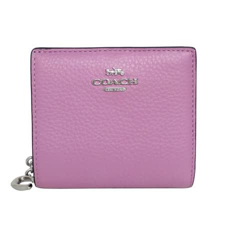COACH粉紫荔枝紋全皮C字拉鍊袋釦式雙摺短夾