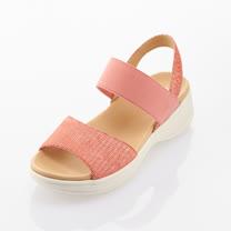 Kimo 山羊皮彈性繫帶涼鞋 女鞋 (珊瑚紅 KBASF150047)