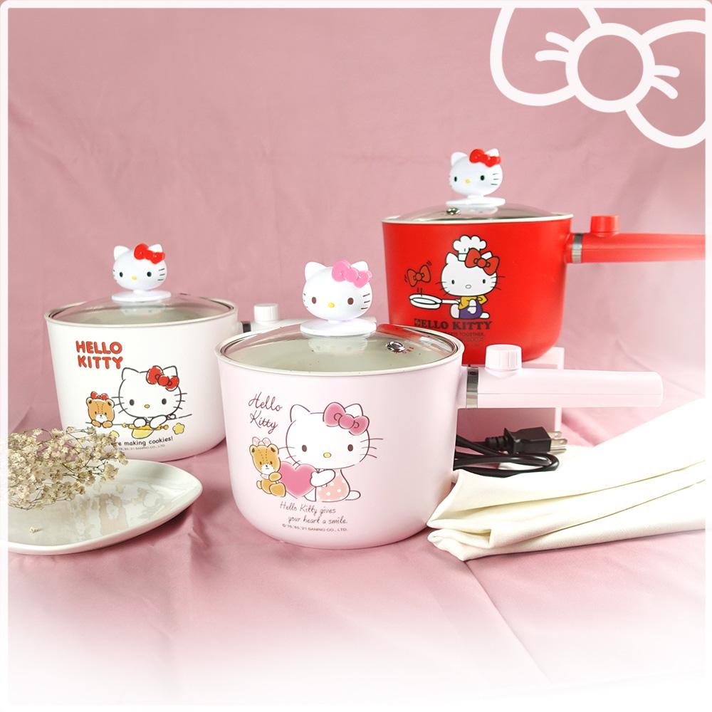 Hello Kitty 多功能烹飪1.6L個人安全電快煮/保溫 陶瓷釉不沾鍋(附造型鍋蓋) KT-EP01
