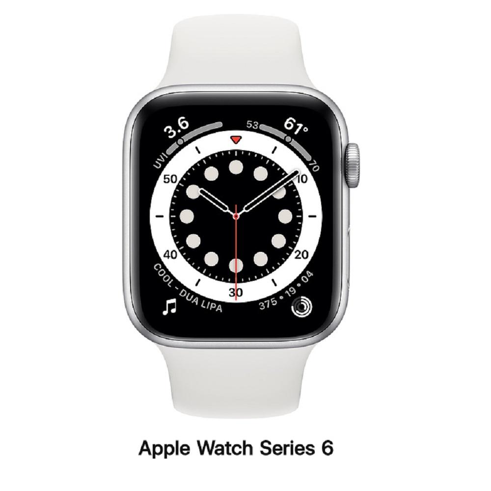 Apple Watch Series 6 44mm LTE版 銀色鋁錶殼配白運動錶帶MG2C3TA/A