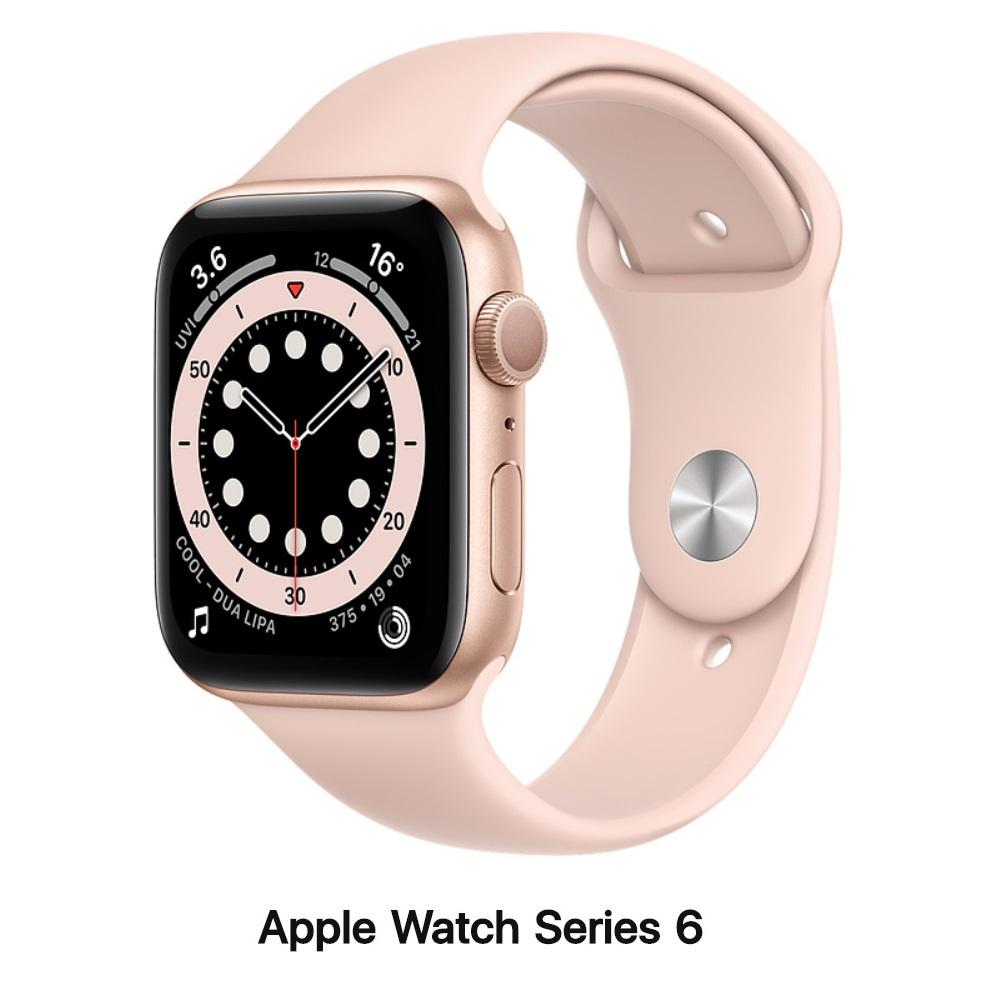 Apple Watch Series 6 44mm GPS版 金色鋁錶殼配粉沙色運動錶帶M00E3TA/A