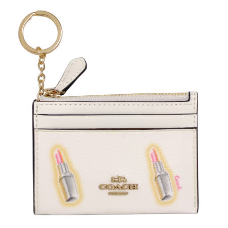COACH米白唇膏圖印前卡夾鑰匙零錢包
