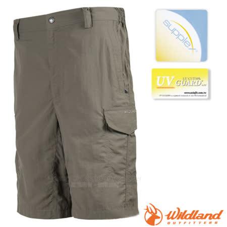 荒野 WildLand 男新款 抗UV休閒五分褲 黃卡其