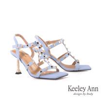 Keeley Ann個性玩酷 一字鉚釘方頭高跟涼鞋(藍色122687160-Ann系列)